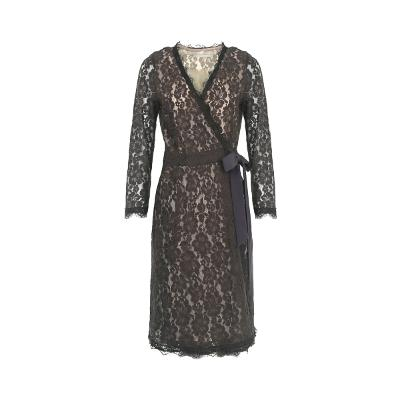 ribbon point lace wrap dress